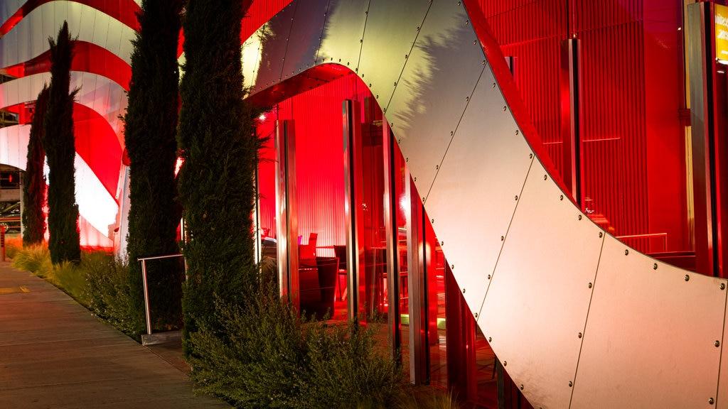 Petersen Automotive Museum featuring night scenes