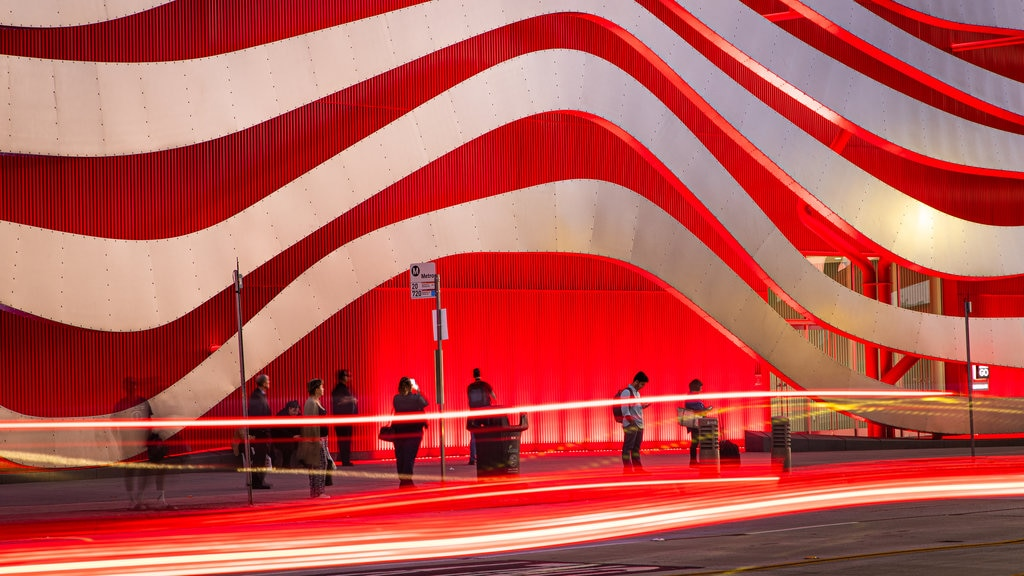 Petersen Automotive Museum which includes modern architecture and street scenes
