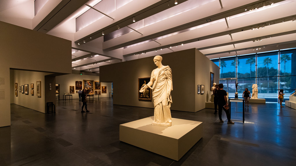 Los Angeles County Museum of Art showing interior views, a statue or sculpture and art