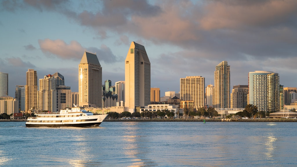 Coronado Ferry Landing featuring a sunset, cruising and a bay or harbor