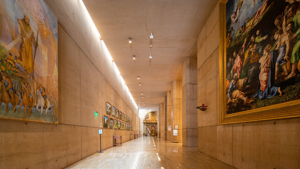 Cathedral of Our Lady of the Angels which includes art and interior views