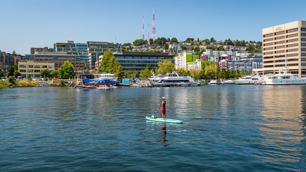 South Lake Union which includes kayaking or canoeing and a bay or harbor as well as an individual male