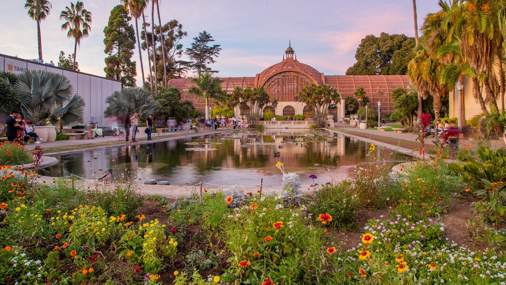 Botanical Building showing a pond and wildflowers