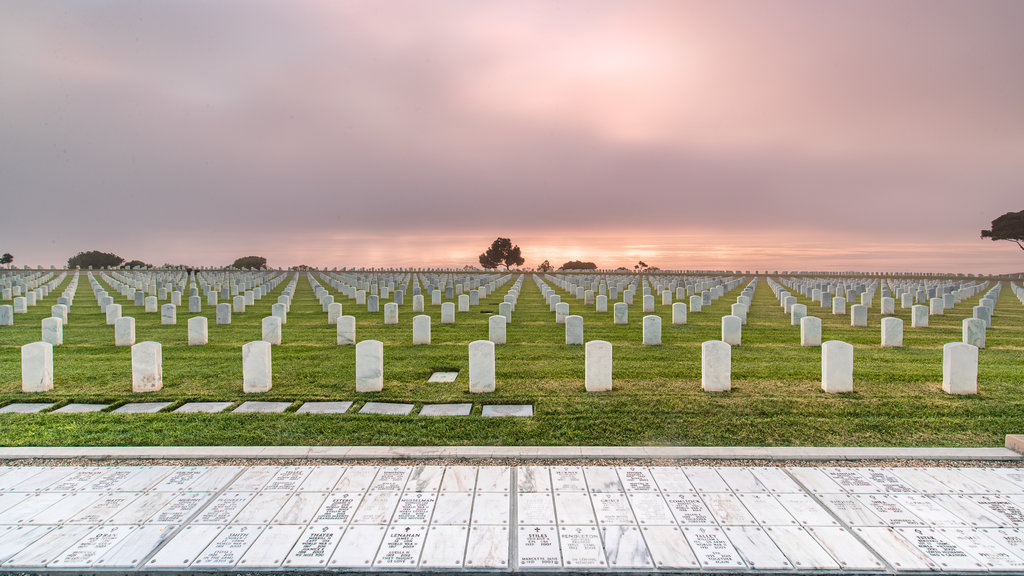Fort Rosecrans Cemetery featuring a sunset and a cemetery
