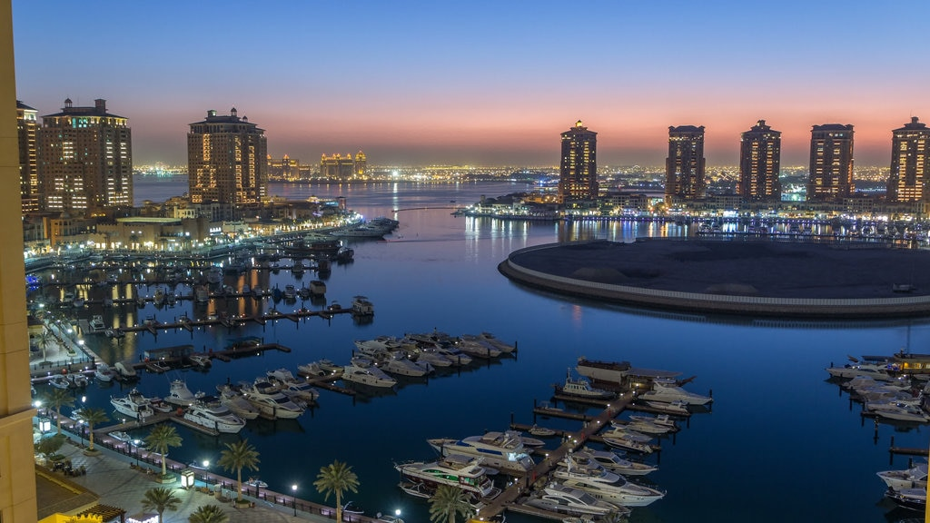 The Pearl-Qatar which includes a city, landscape views and a bay or harbor