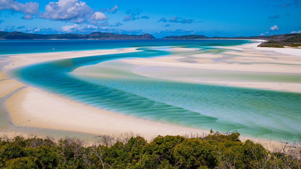 Whitehaven Beach showing a sandy beach, landscape views and general coastal views