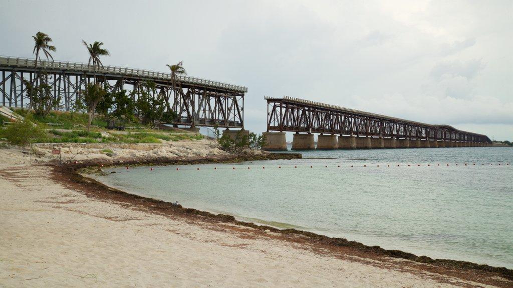 Bahia Honda State Park and Beach showing a bridge, general coastal views and a beach