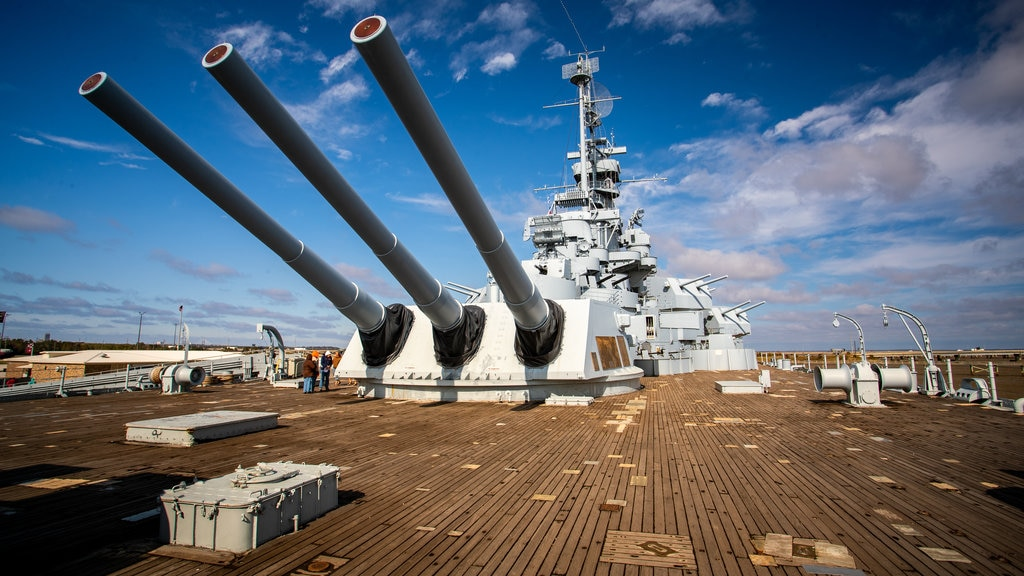 USS Alabama Battleship Memorial Park showing military items