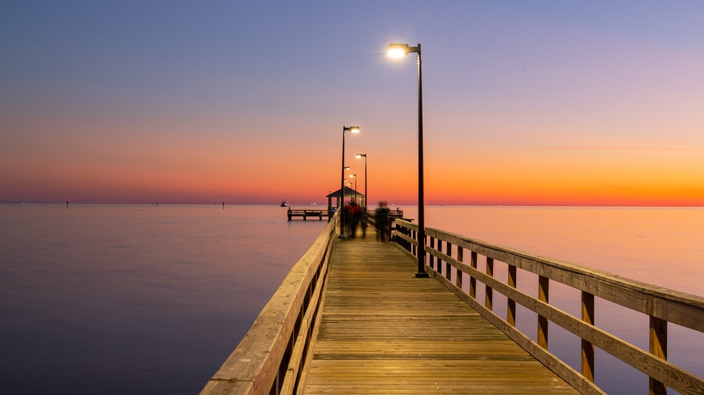 Biloxi Beach showing a sunset and general coastal views