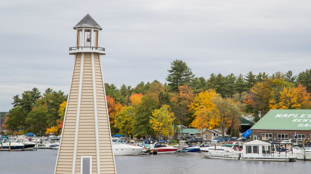 Bridgton featuring a bay or harbor and a lighthouse
