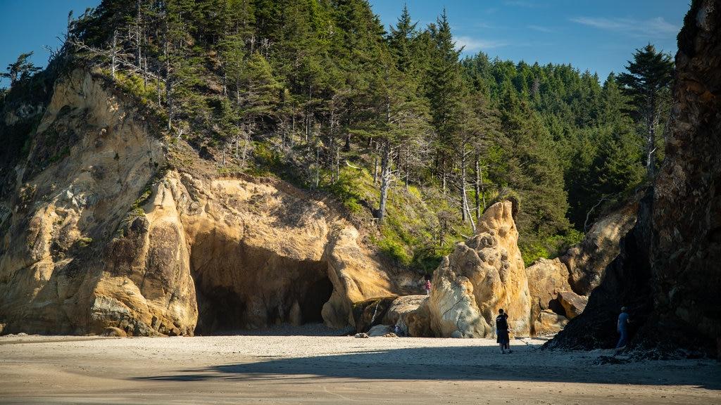 Cannon Beach which includes a beach, general coastal views and rocky coastline
