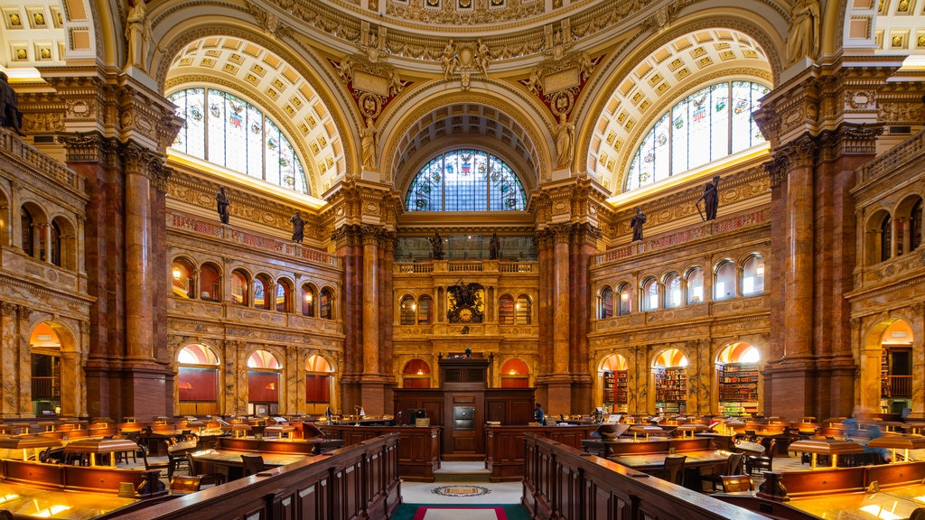Biblioteca do Congresso mostrando um edifício administrativo, elementos de patrimônio e vistas internas