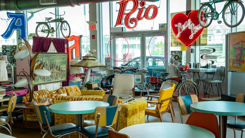 Doo Wop Experience which includes cafe scenes and interior views