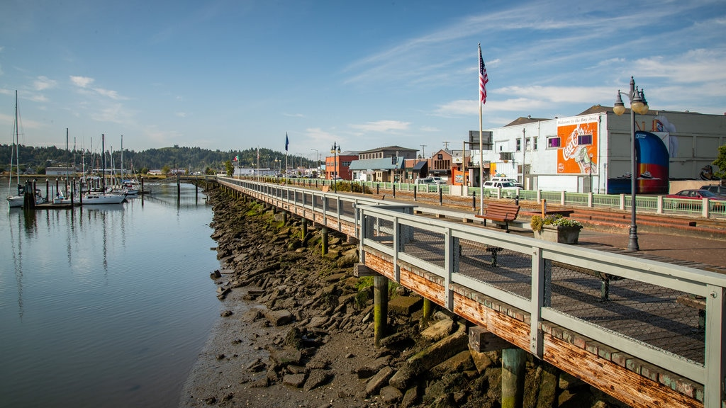 Coos Bay Boardwalk which includes a bay or harbor