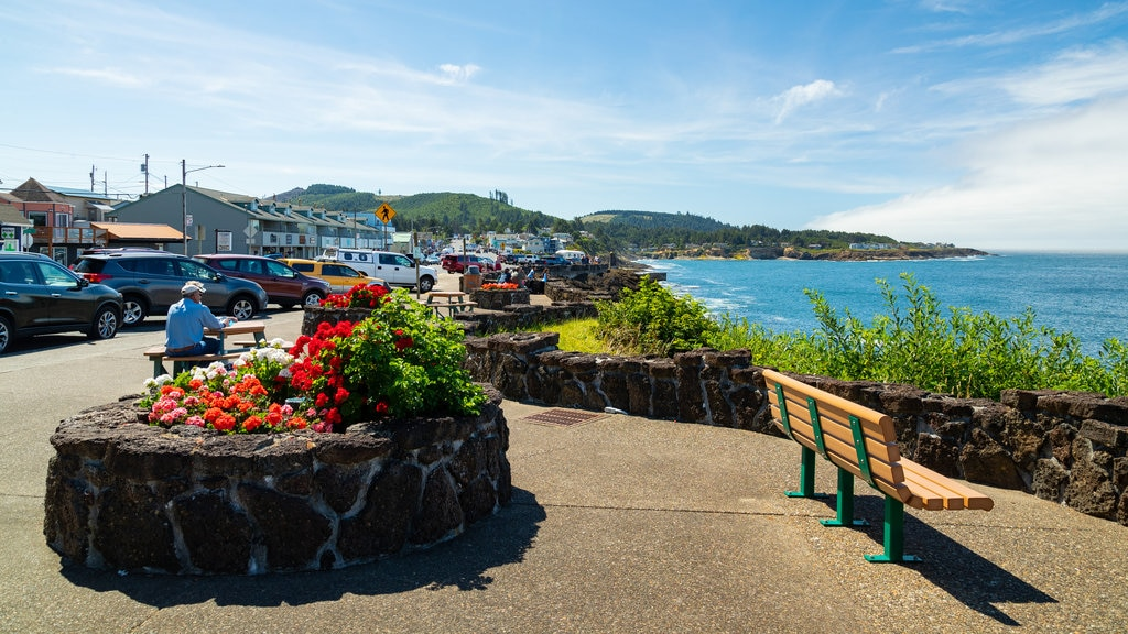 Depoe Bay featuring a coastal town, flowers and general coastal views