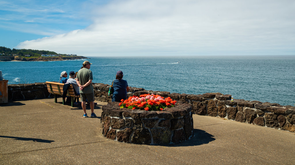 Depoe Bay showing general coastal views and flowers as well as a small group of people