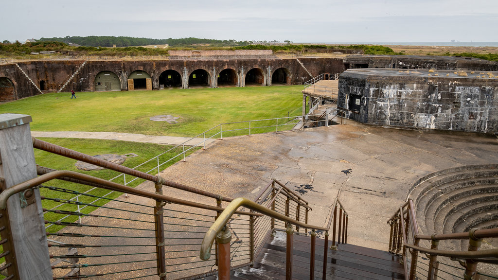 Fort Morgan featuring heritage elements and military items