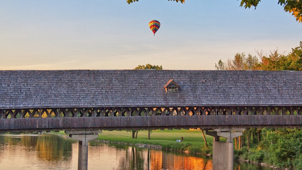 Frankenmuth showing a sunset, ballooning and a bridge