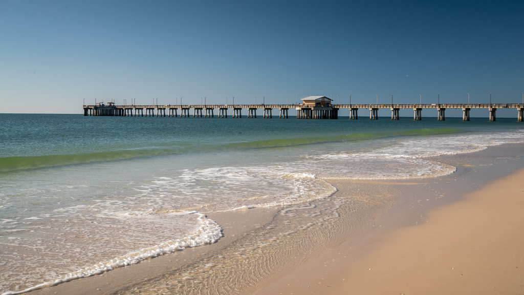 Gulf State Park Fishing Pier showing a beach and general coastal views