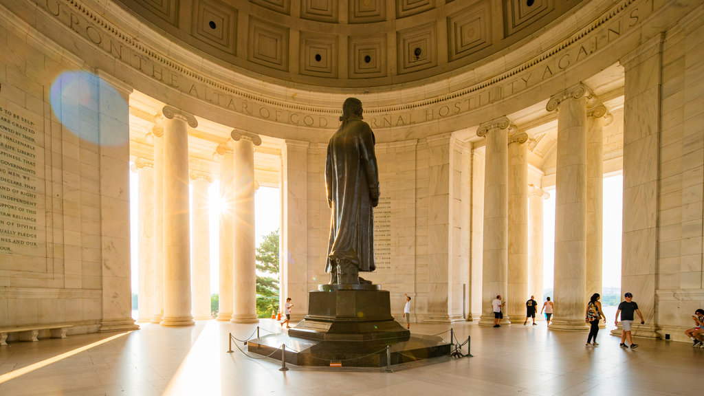Jefferson Memorial which includes a statue or sculpture, heritage architecture and interior views