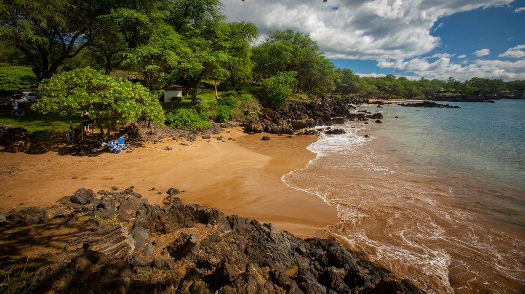 Makena Landing Park featuring general coastal views, rugged coastline and a sandy beach