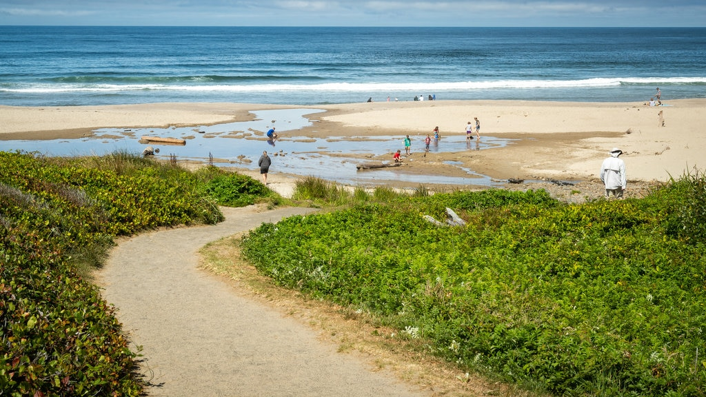 Lincoln City featuring a sandy beach and general coastal views