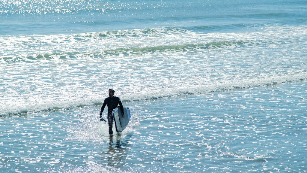 Long Sands Beach which includes surfing and general coastal views as well as an individual male