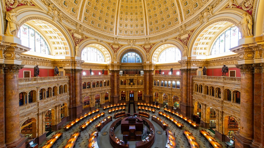 Library of Congress featuring an administrative buidling, heritage elements and interior views