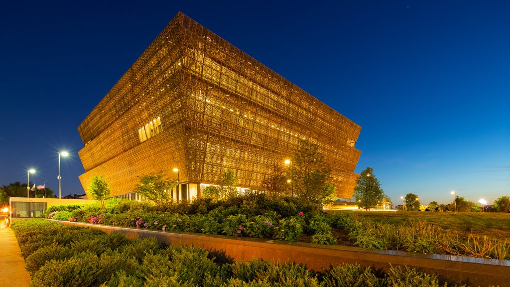 National Museum of African American History and Culture showing night scenes and modern architecture