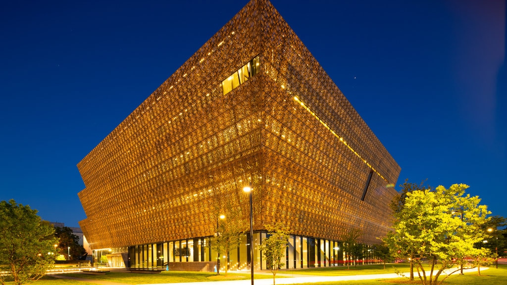 National Museum of African American History and Culture featuring night scenes and modern architecture