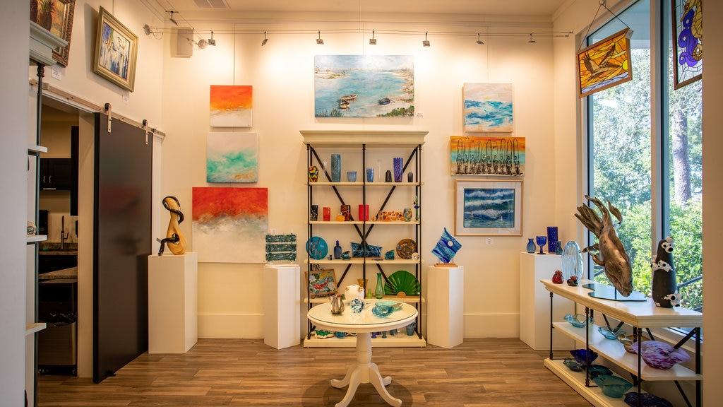Orange Beach Art Center featuring art and interior views
