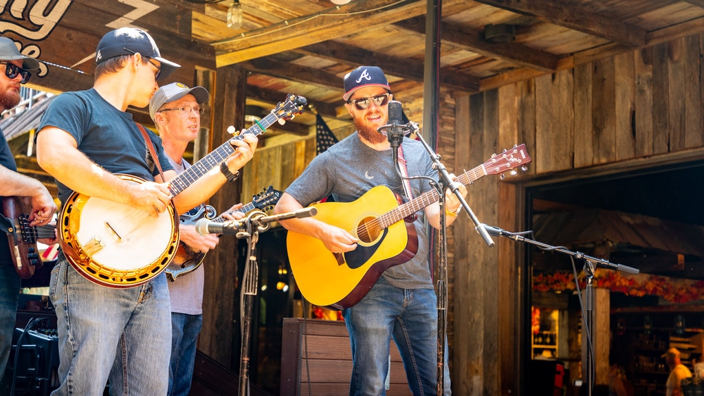 Ole Smoky Moonshine Distillery featuring performance art and music as well as a small group of people