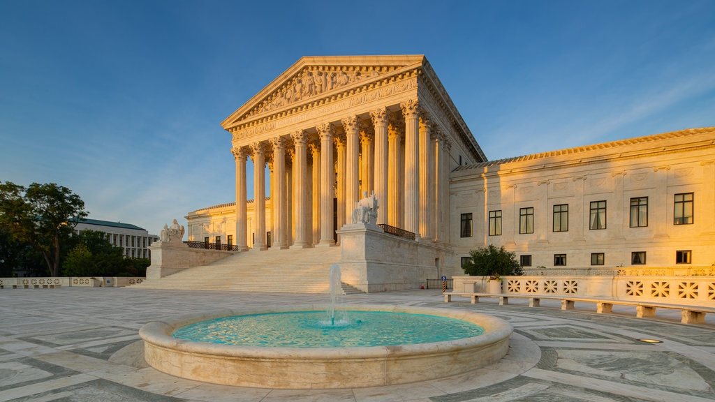 Supreme Court of the United States showing a sunset, an administrative buidling and heritage architecture