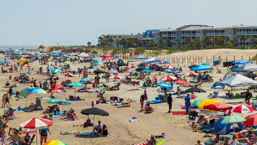 Tybee Island Beach which includes general coastal views and a sandy beach as well as a large group of people