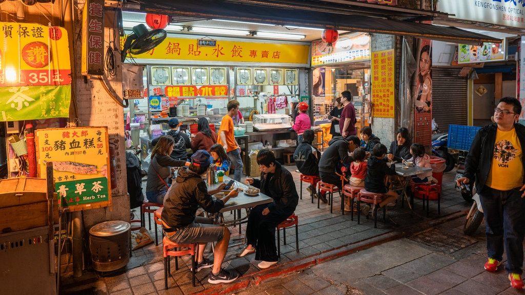 Ningxia Night Market featuring street scenes, outdoor eating and night scenes