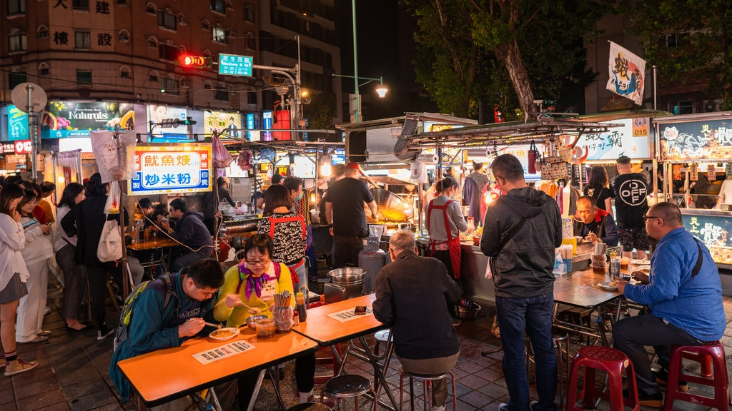 Ningxia Night Market showing street scenes, outdoor eating and night scenes
