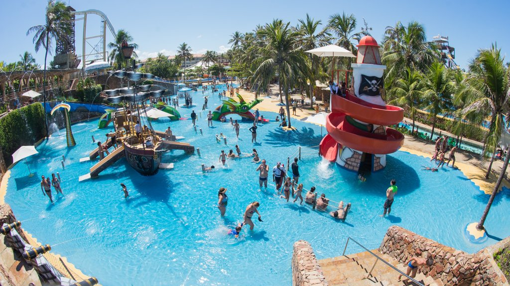 Beach Park Water Park showing a waterpark and swimming as well as a large group of people