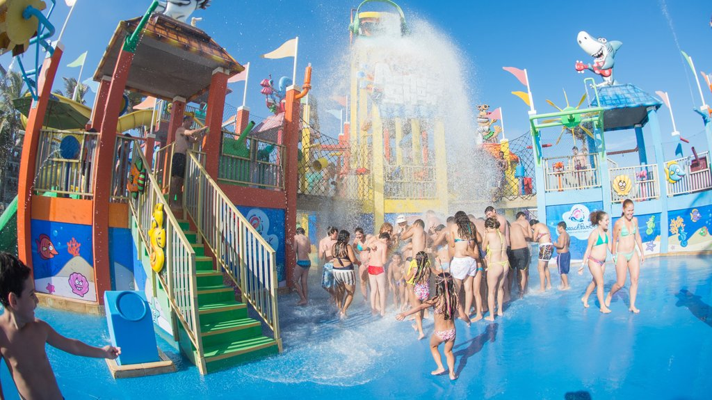 Beach Park Water Park showing a waterpark as well as a large group of people