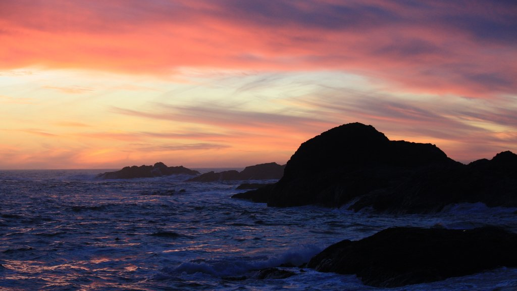 Chesterman Beach showing general coastal views and a sunset