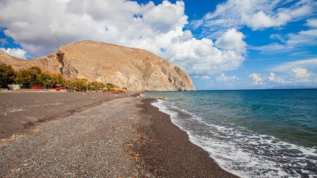 Santorini which includes general coastal views and rocky coastline