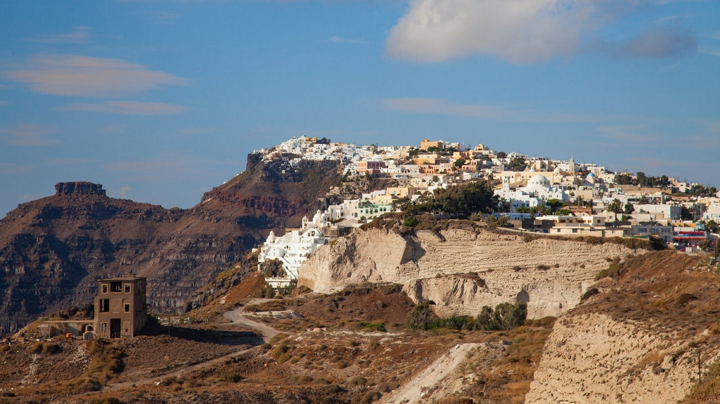 Santorini showing landscape views and a small town or village