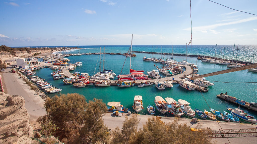 Santorini featuring a bay or harbor and general coastal views