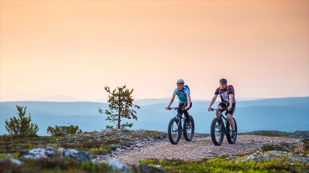 ユッラス スキー リゾート フィーチャー 夕焼け, 静かな風景 と マウンテン バイク