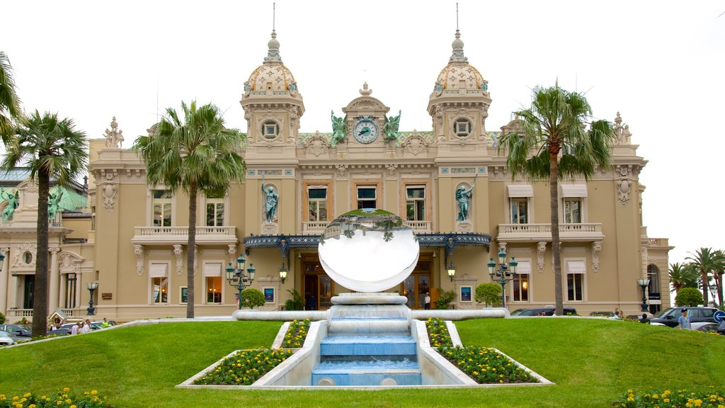 Casino Monte Carlo showing a park, heritage architecture and a fountain