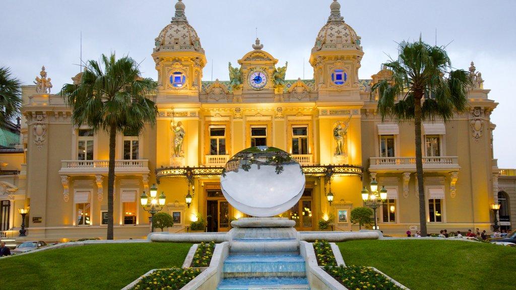 Casino Monte Carlo which includes heritage architecture and a fountain