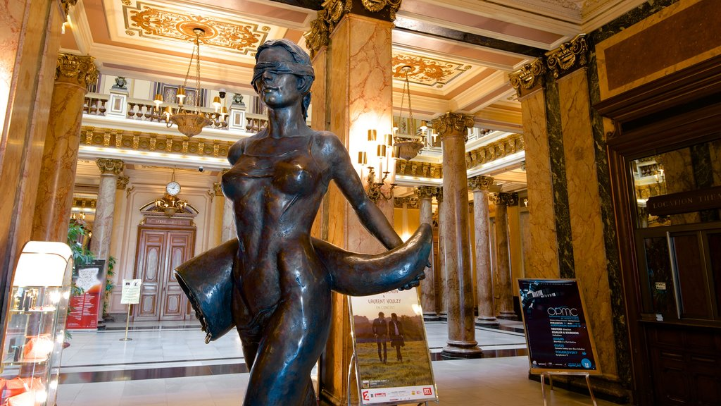 Casino Monte Carlo showing a statue or sculpture, heritage elements and interior views