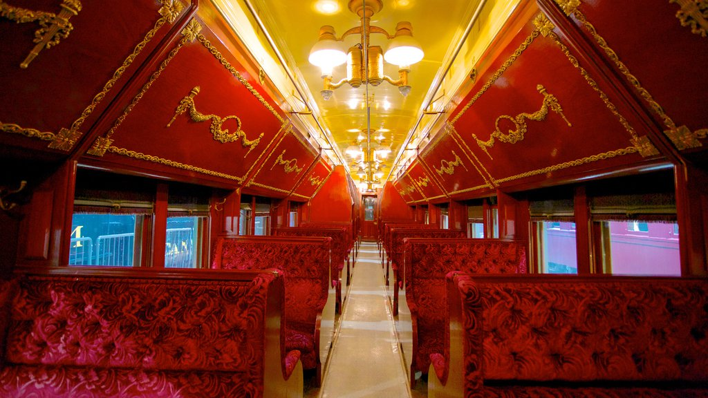 Canadian Railway Museum featuring heritage elements, railway items and interior views
