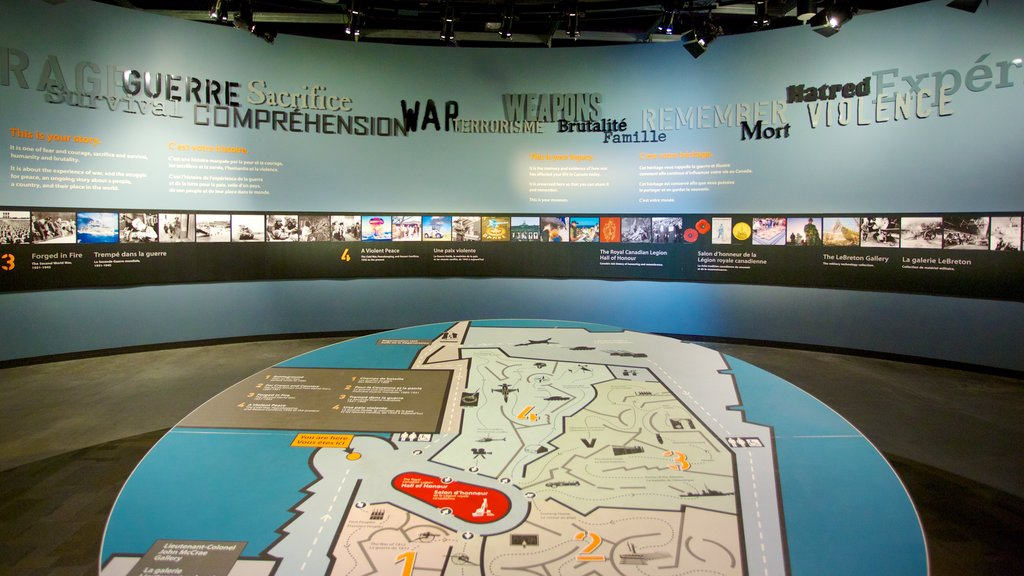 Canadian War Museum which includes signage and interior views