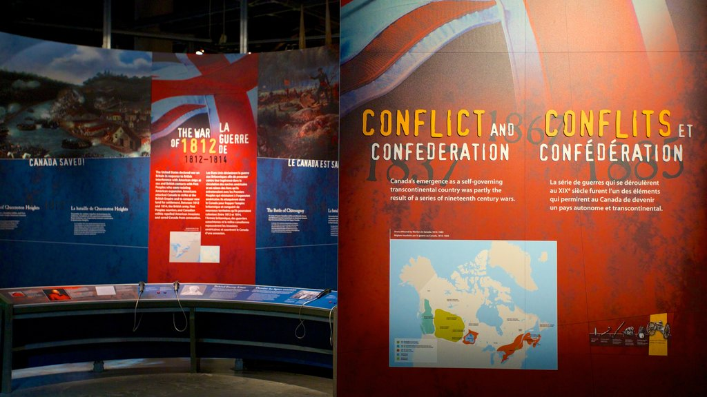Canadian War Museum showing interior views and signage