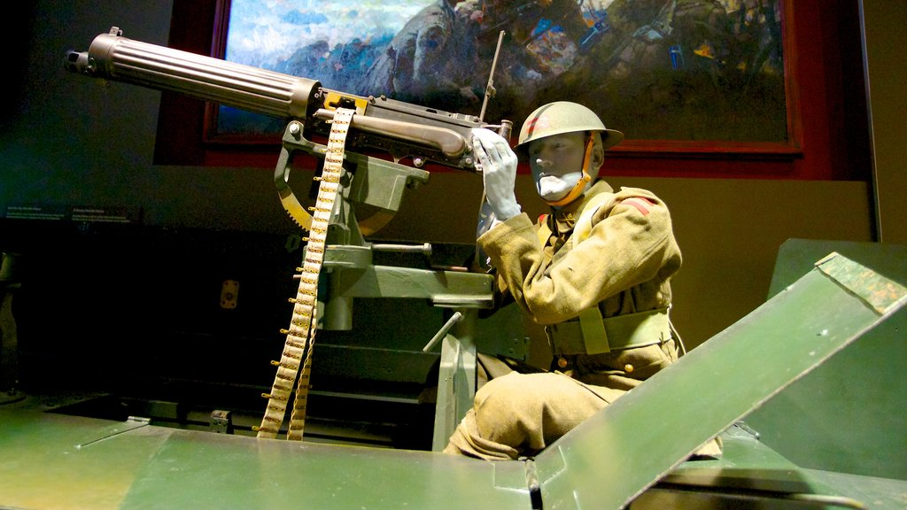 Canadian War Museum showing interior views and military items